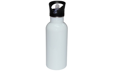 600ml Stainless Steel Water Bottle White Straw Top